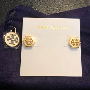 Tory Burch NWOT Gold Hexagon Logo Stud Earrings